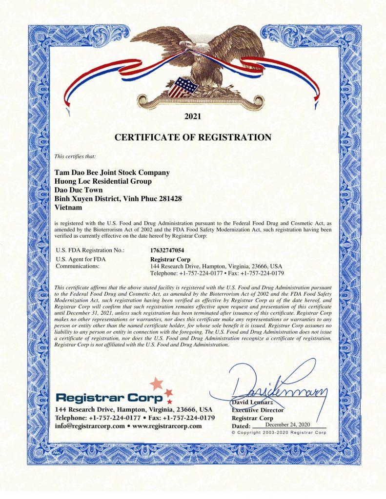 FDA certificate 2021-1