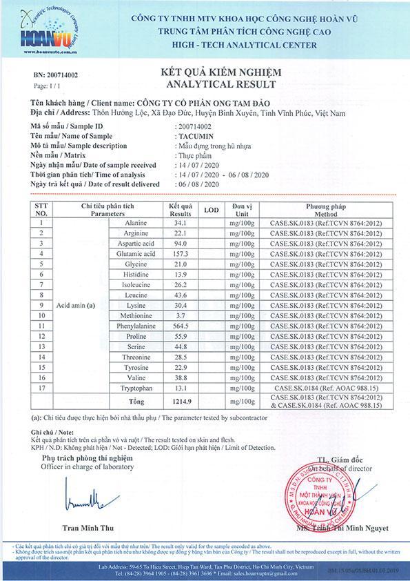 17 loại acid amin cần thiết có trong sản phẩm Tacumin
