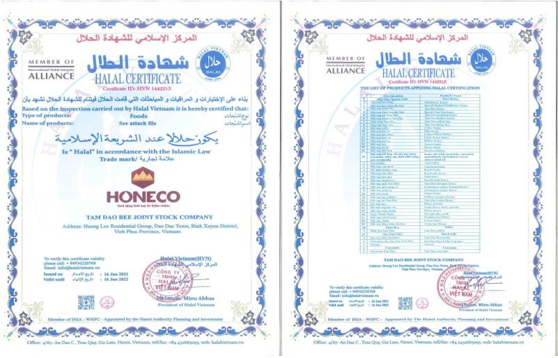 Chứng nhận Halal Honeco